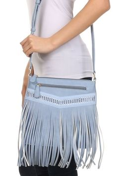 Premium Fringe Rhinestones Cross Body Messenger Bag Turquoise #GetEverythingElse #MessengerCrossBody