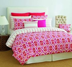 Amazon.com - Tommy Hilfiger Preppy Ikat Cotton Duvet Cover Set, Full/Queen(Old Pattern) - Pink Duvet Cover