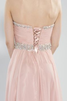 Pink beaded chiffon long prom dress, back details. Gorgeous pink gown for prom 2015