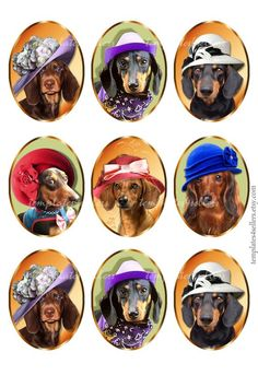 Digital Collage Sheet Taksa Dog in Hat oval images for pendants and jewelry making Original Printable inch 364 Water Slides, Single Image, Collage Sheet, Digital Collage, Jewelry Making, Printables, Hats, Projects, Prints