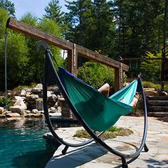 There is no need to find trees with the SoloPod by Eagles Nest Outfitters. Enjoy your ENO hammock virtually anywhere. Eno Hammock, Backyard Trampoline, Hammock Chair, Swinging Chair, Hammocks, Chair Cushions, Hammock Ideas, Outdoor Seating, Outdoor Fun