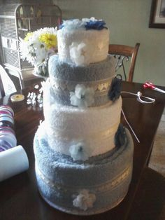 Four Tier Wedding Towel Cake by LaLaslovecakes on Etsy