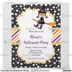 Cute African American Witch Halloween Party