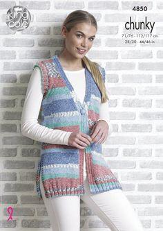 Cardigan & Waistcoat knitted with Drifter Chunky - King Cole Chunky Knitting Patterns, Christmas Knitting Patterns, Knitting Ideas, Crochet Patterns, Baby Scarf, King Cole, Moda Emo, Chunky Wool, Moda Masculina