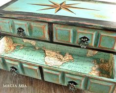 This is what I call a true treasure chest! It's a nautical masterpiece for sure. Meticulously painted on the outside, and lined with a map on the inside.