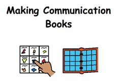 PDF file explaining how to make communication books. Has several printable core word boards inside, as well as tabs to print for different pages in a book.