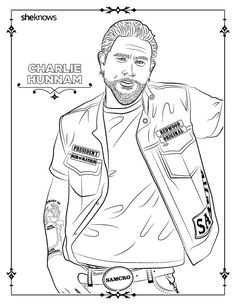 32 adult coloring book pages of Hollywood's hottest men