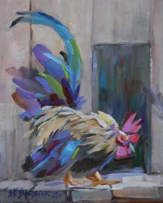 RESTLESS ROOSTER, original painting by artist Elizabeth Blaylock | DailyPainters.com