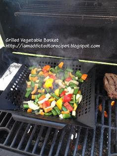 Grilled Vegetable Basket - asparagus, onion, mushrooms, zucchini, and tomato marinated in balsamic vinegar, garlic, thyme, and honey