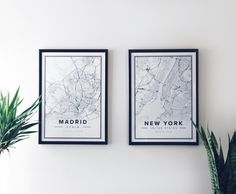 Map poster of Madrid & New York. Print size 50 x 70 cm. Custom black and white map posters online. Mapiful.com.