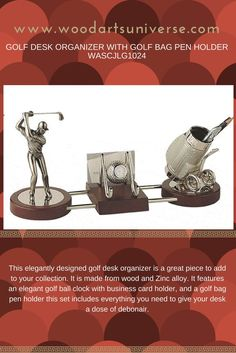 This elegantly designed #golf desk #organizer is a great piece to add to your collection. It is made from wood and Zinc alloy.    #freeshipping   http://woodartsuniverse.com/catalog/product_info.php?cPath=28&products_id=469