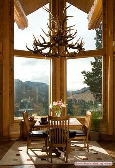 What a gorgeous view from these log cabin windows,