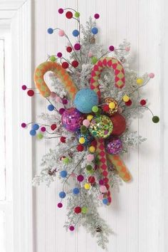 colorful....so cute against this white door Christmas Door Wreaths, Holiday Wreaths, Wreaths Crafts, Christmas Crafts, Santas Workshop, Family Holiday, Thanksgiving Holiday, Decoration Noel, Christmas Inspiration