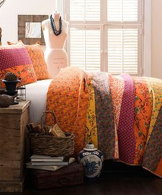 Tangerine Royal Empire Quilt Set | zulily The horizontal stripes are quite catchy!