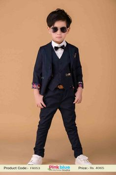 Kids New Arrivals 2015 - Baby Boy Party Wear Suits, 3  Piece Formal Outfit, Navy Blue Birthday Clothing Set, Toddler Boy Trousers, Full Sleeve Jacket With Vest Coat and Black Bow, Pockets, Designer Casual Dress for Infant Boy on #pinkblueindia