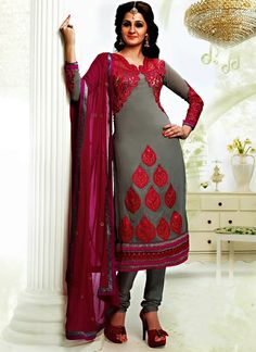 Item :#3916 Shop this product from here.. http://www.silkmuseumsurat.in/grey-color-faux-georgette-fabric-pakistani-suit?filter_name=3916   Color : Grey Fabric : Faux Georgette Occasion : Bridal, Casual, Festival, Party, Reception, Wedding Style : Pakistani Salwar Kameez Work : Embroidered, Patch Border