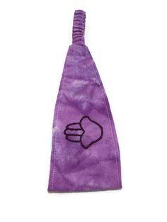 Purple hand embroidered hasma hand headband tie by MindfulMandala