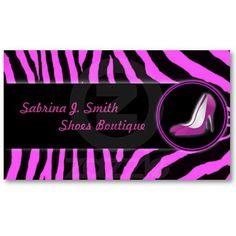 Pink Zebra Shoes Boutique Business Card by elenaind