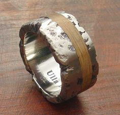 Unique Titanium & Wooden Wedding Ring | LOVE2HAVE UK! Rustic Wedding Rings, Titanium Wedding Rings, Precious Metals, Jewelry Rings, Rings For Men, Jewelry Making, Unique, Silver, Gold
