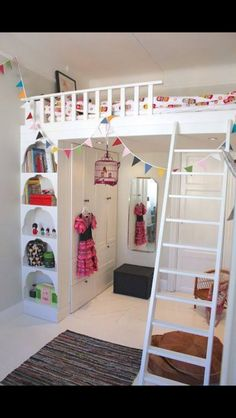Bunk bed and dressing room for kids bedroom