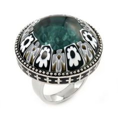 Millefiori Glitter In Motion Black And White Round Ring With Floating Zirconia, Size 7 Millefiori. $118.00