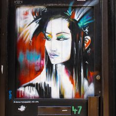 "A painting of a #Muse on the door ""Tokyo Neon"" #StreetArt by @dankitchener at no.47.. / #Art #Artist #Artwork #StreetArtEverywhere #Paint #SprayPaint #Painting #Gallery #StreetPhotography #Graffiti #Draw #WallArt #Mural #Illustration #UrbanArt #StreetArtPhotography #geisha / #London #EastLondon #Tokyo #BrickLane #Shoreditch / #Muse"