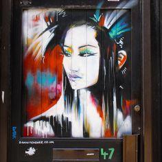 "A painting of a #Muse on the door ""Tokyo Neon"" #StreetArt by @dankitchener at no.47.. / #Art #Artist #Artwork #StreetArtEverywhere #Paint #SprayPaint #Painting #Gallery #StreetPhotography #Graffiti #Draw #WallArt #Mural #Illustration #UrbanArt #StreetArtPhotography #geisha / #London #EastLondon #Tokyo #BrickLane #Shoreditch / #Muse"