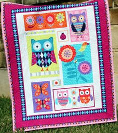 Girl Baby Quilt, Blanket, Nursery Crib Bedding Quilt, Wing and Things Owls Butterflies Flowers Pink Purple Aqua Cute Adorable Baby Bedding by SunnysideDesigns2