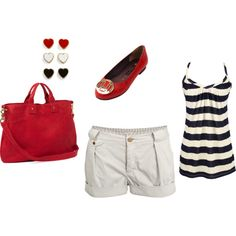sailor, created by #crystalbake on #polyvore. #fashion #style Paul Smith Clare Vivier (Would change the reds to yellows)