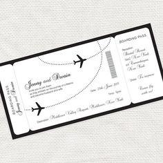 ven a volar conmigo boarding pass boda invitación por idoityourself