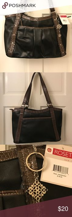 """Rosetti vinyl purse NWT Large black purse with brown studded trim. Zipper  pocket front exterior .open back pocket exterior. Two interior compartment with middle zipper closure. Hangtag. 14"""" x 10"""" x 4"""" x 12"""" strap drop Rosetti Bags Shoulder Bags"""