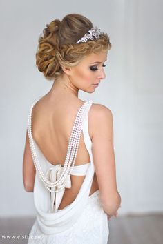 Wedding Hairstyle with sleek curl updo, tiara & neutral make-up %u2013 Stunning 1920%u2032s inspired wedding dress too!