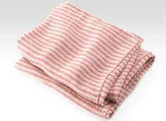 Brahms Mount crafts premium cotton, linen and wool blankets, throws and towels on antique shuttle looms in Maine, USA Kitchen Linens, Kitchen Towels, Kitchen And Bath, Spa Towels, Linen Towels, Natural Red, Striped Linen, Bathroom Inspiration, Wool Blanket