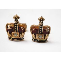 Swank Crown Cuff links ($20) ❤ liked on Polyvore featuring jewelry
