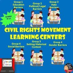 Civil Rights Movement Learning Centers Activity (Print and Digital) U. Activity Centers, Learning Centers, Educational Activities, Fun Activities, Civil Rights Memorial, Teen News, Literacy Test, Cooperative Learning, Civil Rights Movement