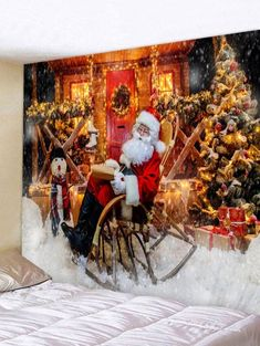 2019 Christmas Wall Tapestry Best Online For Sale Christmas Tree With Gifts, Christmas Night, Christmas Deer, Father Christmas, Hanging Art, Tapestry Wall Hanging, Wall Hangings, Tapestry Online, Cheap Wall Tapestries