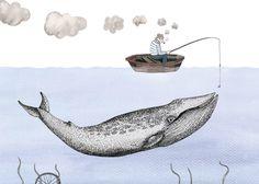 Fisherman illustration art print digital by SietskevanderMeij Art And Illustration, Printmaking, Illustrators, Photo Art, Whale, Digital Prints, Artsy, Sculpture, Art Prints