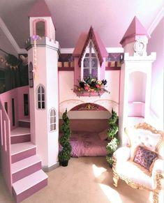 Princess Castle bunkbed sleeps 2 on twins. Slide, toys, dolls, and dress-ups! Bed For Girls Room, Cool Kids Bedrooms, Kids Bedroom Designs, Cute Bedroom Ideas, Home Room Design, Awesome Bedrooms, Cool Rooms, Girl Room, Girls Bedroom