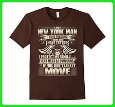 Mens New York Man Love Freedom Drink Beer Have Tattoos T-shirt Large Brown - Food and drink shirts (*Amazon Partner-Link)