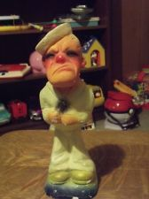"Vintage 1947 Chalkware Chalk Statue Carnival Prize Sailor Popeye ""So What?"""