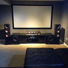 Ohio home theater fan blends Klipsch speakers with dual SVS Subwoofers to create an intense movie and game night experience. Home Theater Room Design, Home Theater Setup, Home Theater Speakers, Home Theater Rooms, Theatre Design, Cinema Room, Home Room Design, Cinema Theater, Home Theater