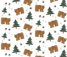 Bears, Trees, and Paw Prints - Smaller Scale fabric by taraput on Spoonflower - custom fabric