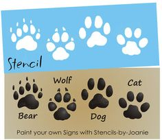 STENCIL Bear Wolf Dog Cat Paw Print Tracks Cabin Signs