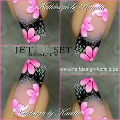 Fingernail Designs, Gel Nail Designs, Cute Nail Designs, Fancy Nails, Cute Nails, Pretty Nails, Nagellack Design, Flower Nail Art, Nagel Gel