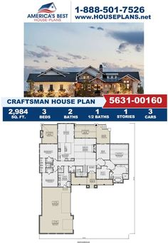 Take a look at Plan 5631-00160 featuring 2,984 sq. ft., 3 bedrooms, 2 bathrooms, a covered porch, a mud room, a kitchen island, and an open floor plan. Learn more about this Crfatsman design on our website today. Craftsman Style Homes, Craftsman House Plans, Car Covers, Architectural Elements, Mudroom, Natural Materials, Square Feet, Porch, Floor Plans