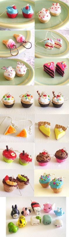 More stuff I've made in the past month or so! Well, the little critters at the bottom were done several months ago, but I only just got around to photographing them. Mostly cupcakes and some pies. ...