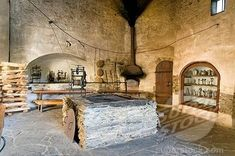 Medieval castle kitchen, museum Burgk Castle, Burgk, Thuringia, Germany, Europe