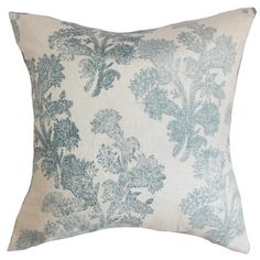 Down-filled cotton pillow.Product: PillowConstruction Material: Cotton cover and down fillColor: Aqua