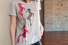 Rearing Horses T-Shirt High-Low T-Shirt Woman T-Shirt by Aquani
