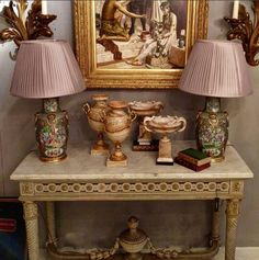 Softest of summer tones. With a gorgeous Louis XVI style console c.1900 just in with a painted and gilt finish. A pair of Canton vases wired as lamps and alabaster & onyx accessories finish it off.